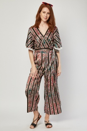 Sateen Printed Wide Leg Jumpsuit