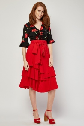 Tie Up Ruffle Midi Skirt