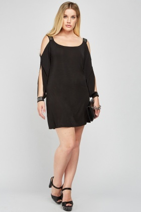 Encrusted Cold Shoulder Tunic Dress