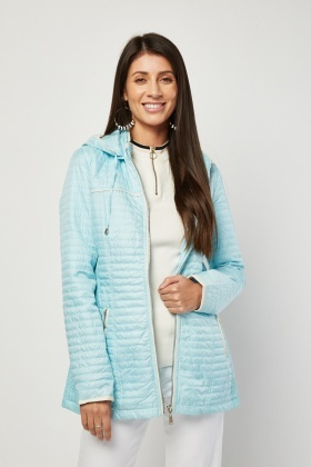 Gathered Side Quilted Hooded Jacket