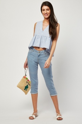 Roll Up Hem Capri Jeans