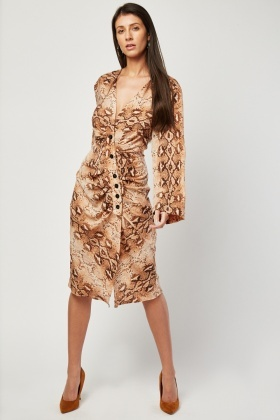Ruched Snake Skin Print Midi Dress