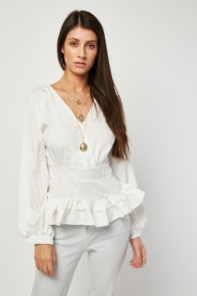 Ruffle Hem Fitted Blouse