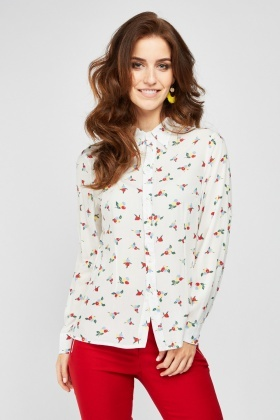 Button Front Printed Cotton Shirt
