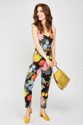 Cross Back Printed Jumpsuit