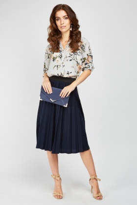 Midi Pleated Navy Skirt