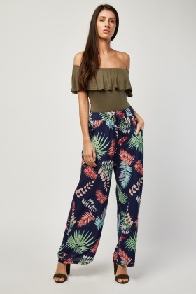 Mix Printed Wide Leg Trousers