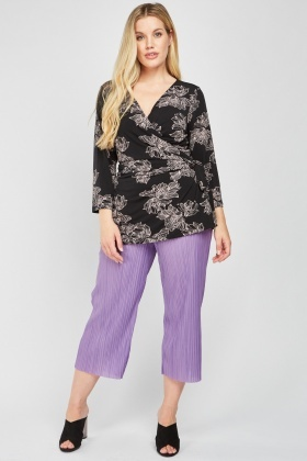 Printed Asymmetric Wrap Top
