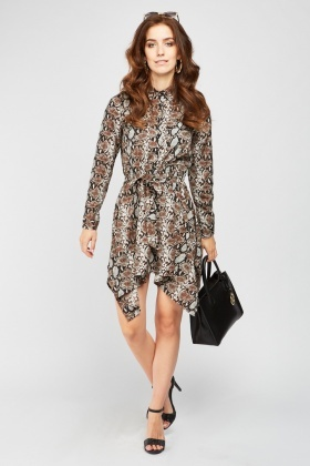Snake-Skin Print Asymmetric Shirt Dress