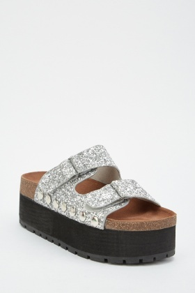 Contrasted Glittered Chunky Sandals
