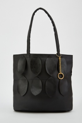 Cut Out Leather Trim Tote Bag