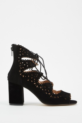 Cutwork Lace Up Heels