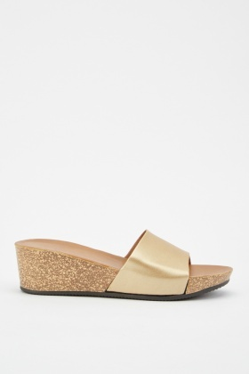 Metallic Cork Wedge Sandals