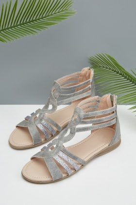 Metallic Cut Out Gladiator Sandals