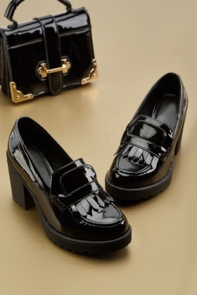 PVC Fringed Heeled Loafers