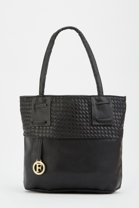 Textured Contrasted Tote Bag