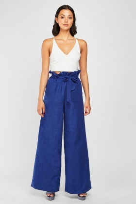 Belted Waist Wide Leg Trousers