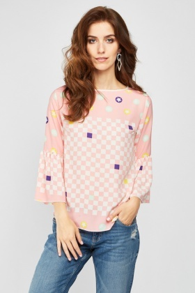 Checkered Frilly Sleeve Blouse