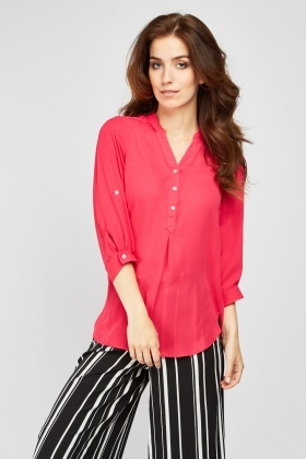 Chiffon Button Front Blouse