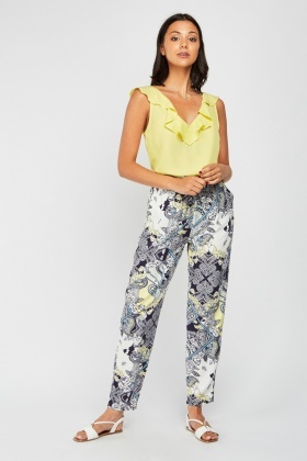 Ethnic Print Tapered Trousers £5.00
