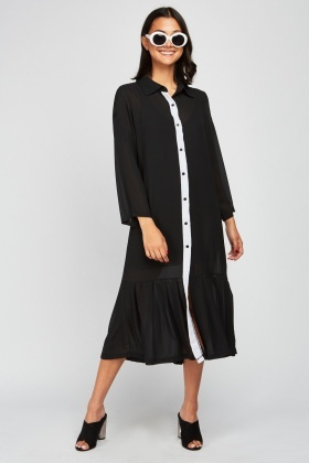 Pleated Hem Sheer Shirt Dress