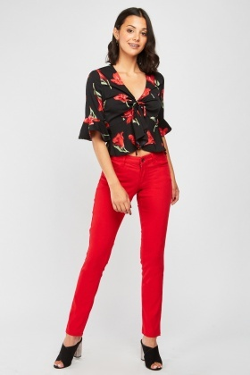Red Skinny Fit Trousers