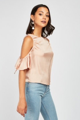 Ruched Cut Out Sleeve Top