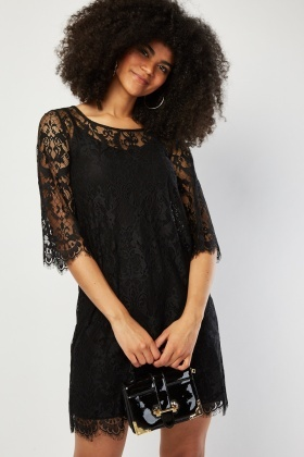 Lace Pattern Shift Dress