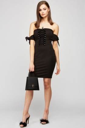 Lace Up Off Shoulder Bardot Dress