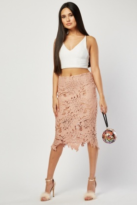 Laser Cut Lace Midi Skirt