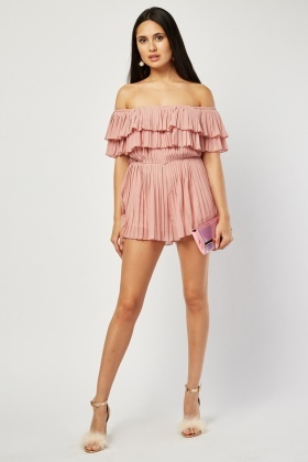 Off Shoulder Pleated Playsuit