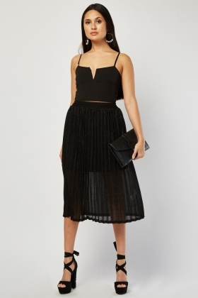 Pleated Midi Lurex Skirt