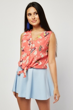 Sleeveless Butterfly Print Top