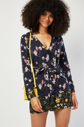Tie Up Floral Mini Dress