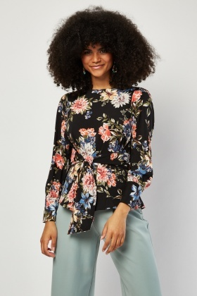 Tie Up Floral Print Blouse