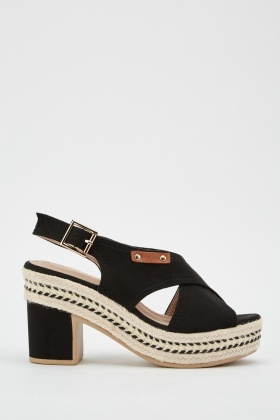 Cross Strap Suedette Sandals