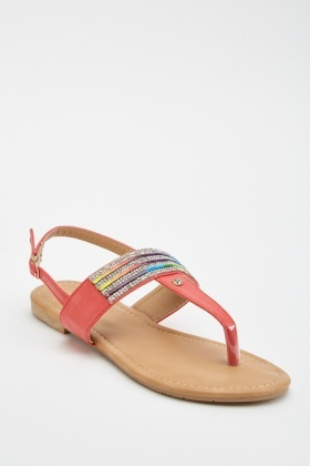Encrusted Rainbow Trim Sandals