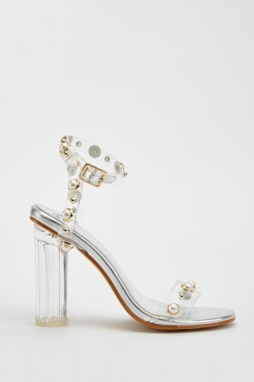 Metallic Faux Pearl Block Heels