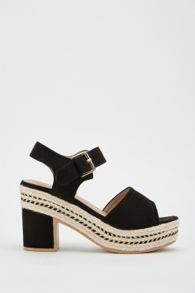 Metallic Stitched Trim Suedette Sandals