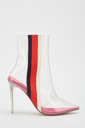 Stripe Side Clear Heel Boots