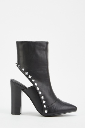 Studded Cut Out Back Boots