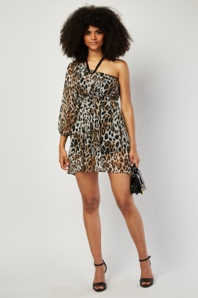 Animal Printed One Shoulder Dress