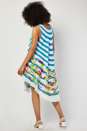 Floral Curve Striped Tent Dress