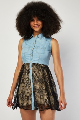 Lace Insert Sleeveless Denim Dress