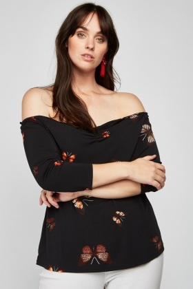 Off Shoulder Butterfly Print Top