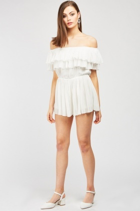 Pleated Layered Ruffle Playsuit