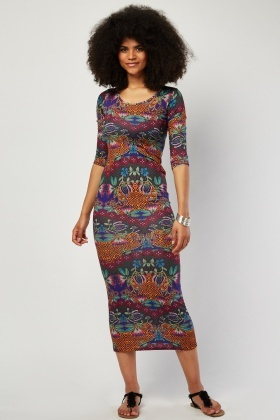 Scoop Neck Printed Maxi Dress