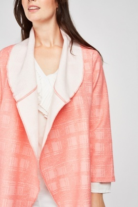Checkered Patterned Waterfall Jacket