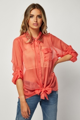 Embellished Sheer Chiffon Shirt