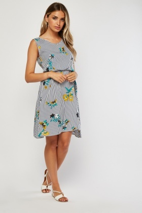 Floral Striped Swing Dress